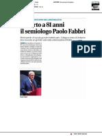 Morto a 81 anni il semiologo Paolo Fabbri - Il Corriere di Romagna del 3 giugno 2020