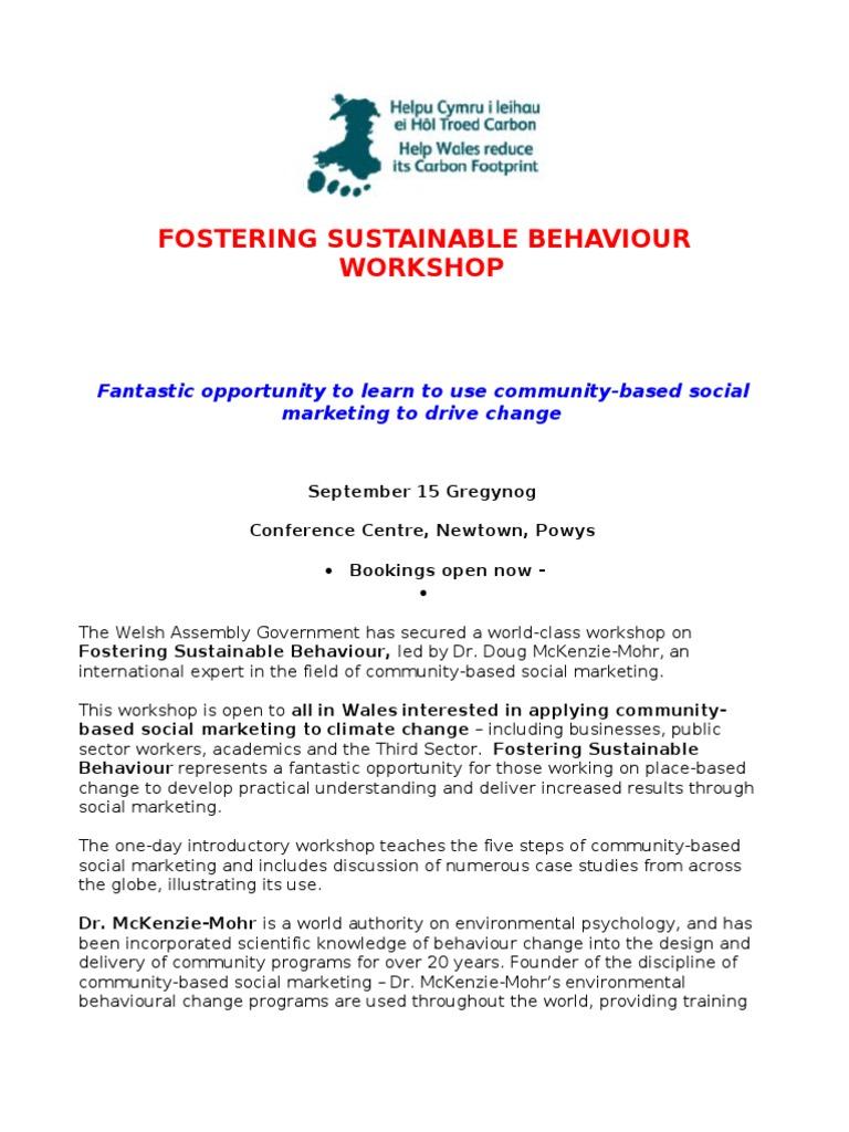 fostering sustainable behavior mckenzie mohr doug