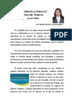 Artículo de INNOVACIONES EN LA NUEVA LEY PROCESAL