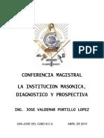 LA INSTITUCION MASONICA, DIAGNOSTICO Y PROSPECTIVA   ABRIL 18 DE 2015 2