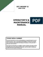 J6K8-5700 - OPERATOR'S MANUAL SPANISH LINK BELT 8050