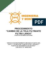 PROC-5030-MEC-PTE-19 CAMBIO DE LA TELA FILTRANTE FILTRO LAROX Rev