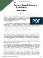 SADER, Eder. O Chile Entre a Legalidade e a Revolução, 1971.
