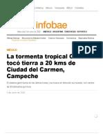 La Tormenta Tropical Cristobal Tocó Tierra a 20 Kms de Ciudad Del Carmen, Campeche - Infobae