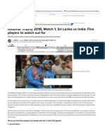 Nidahas Trophy 2018, Match 1, Sri Lanka vs India_ Five players to watch out for