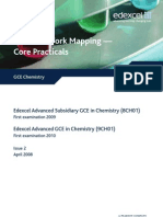 GCE Chemistry 8CH01 Practical Work Mapping