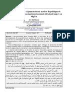 Ajustement Du Cadre Réglementaire en Matière de Politique de Promotion Et d'Attraction Des Investissements Directs Étrangers en Algérie
