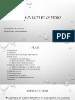 tests in vivo et in vitro