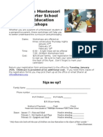 2010-11 Parent Education Workshops Flyer