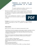 Secuencia didáctica La función de los organismos internacionales en el orden económico actual