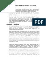 DETERMINACION DEL LIMITE LÍQUIDO DE LOS SUELOS