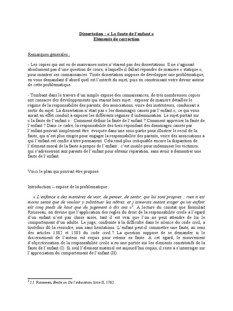 sujet de dissertation juridique