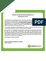 Comunicado Centroabastos Bucaramanga