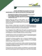 Comunicado Reactivación Proyectos VF