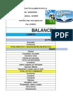 ESTADO Y BALANSE ALPINA S.A
