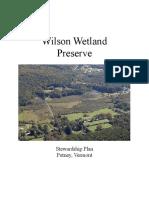 Wilson Wetland Stewardship Plan