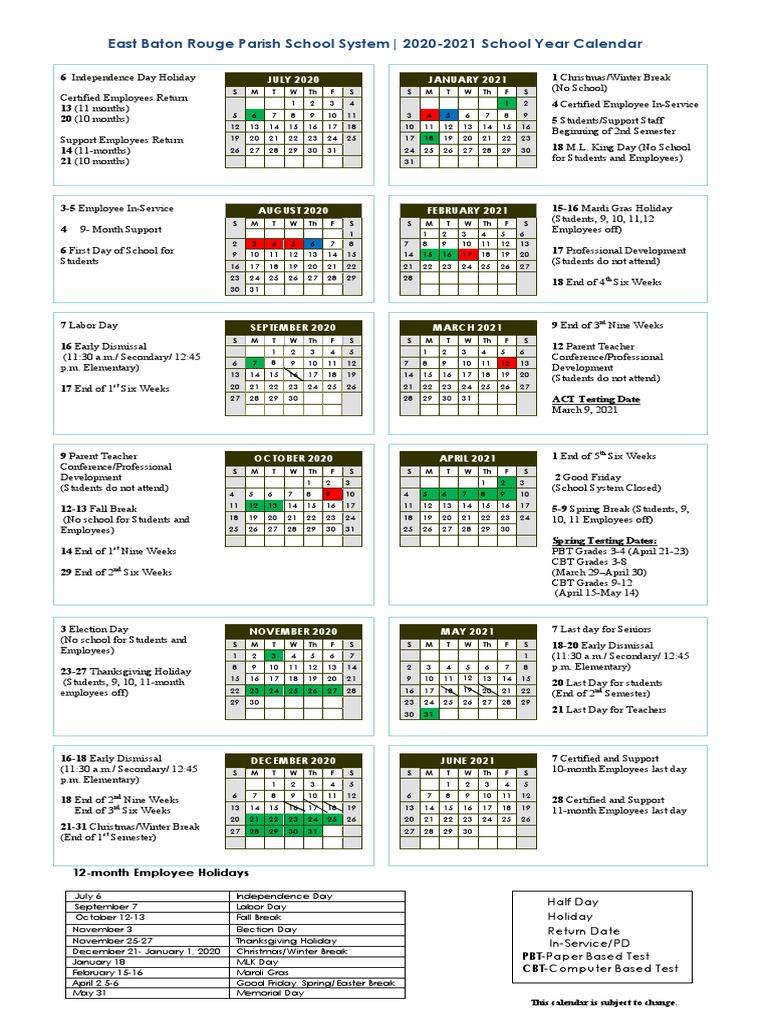 Ebr School Calendar 2021