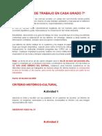TALLERES DE TRABAJO EN CASA GRADO 7º