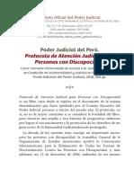 Articulo PJ presentacion del protocolo de atencion judicial para PCD