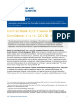 Central Bank Operational Risk Considerations for Covid-19