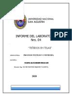 Laboratorio TEÑIDOS- AVANCE- ROSA CCAPA