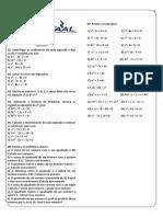 Ficha 05 - Equação e inequação do 2º grau