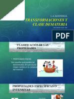 TRANSFORMACIONES DE LA MATERIA Y CLASES DE MATERIA