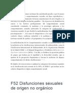 F52 Disfunciones sexuales de origen no orgánico