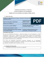Syllabus Estadística Descriptiva