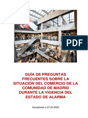 Guía De Preguntas Frecuentes Sobre La Situación Del Comercio De La Comunidad  De Madrid Durante La Vigencia Del Estado De Alarma | Comercio | Consumo  (economía)