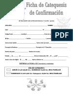 Ficha Inscripción Catequesis de Confirmación Curso 2020-2021
