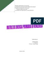 MATRIZ ENERGIA PRIMARIA EN VENEZUELA