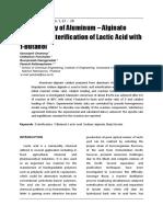 Kinetic Study of Aluminum – Alginate Catalyzed Esterification of Lactic Acid with 1-Butanol