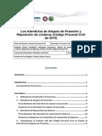 Los Interdictos de Amparo de Posesión y Reposición de Linderos (Código Procesal Civil de 2016)