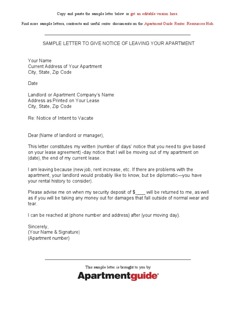 Sample Letter Giving Notice