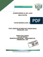 Plan de Desarrollo Municipal 2016-2019 Por El Sentir De Un Pueblo  Paz y Equidad Social (1)