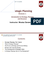 Module 1-Introduction to Strategy, Planning and Structure
