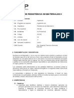 603 EE - SILABO Resistencia de materiales II