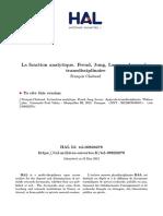 La fonction analytique. Freud, Jung, Lacan - Approche transdisciplinaire François Chabaud