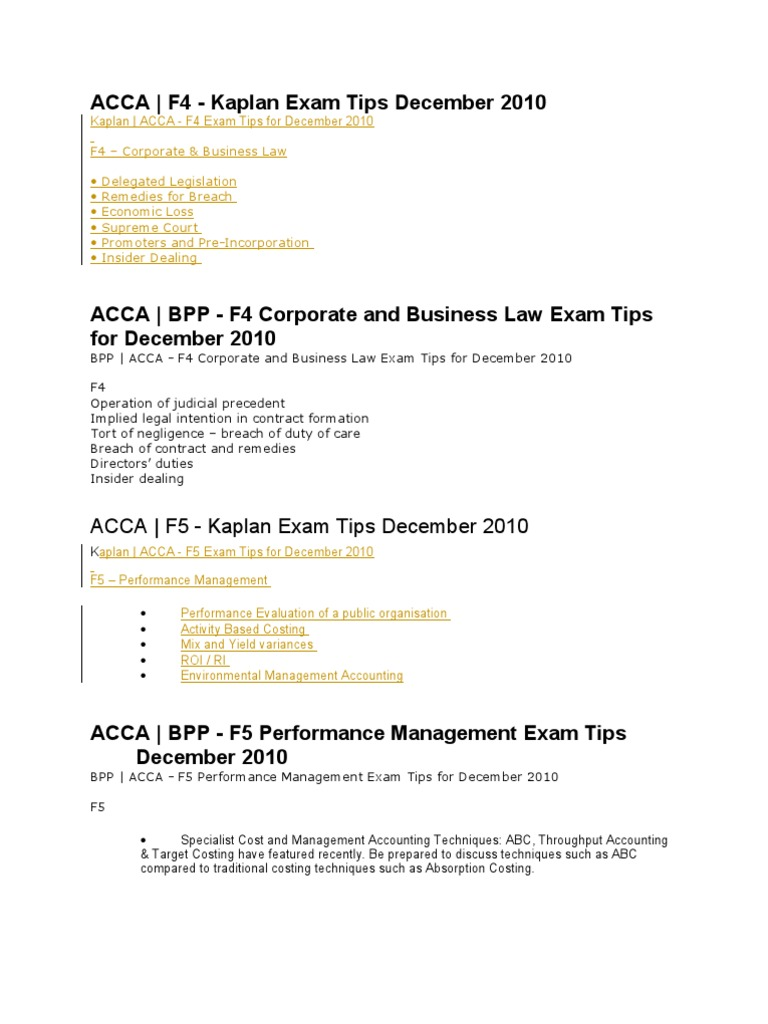 F4-f6 exam tips | Taxes | Management Accounting