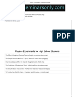 Physics Experiments for High School Students