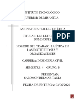 LA ETICA EN LAS INSTITUCIONES ORGANIZADAS. SALOMON BELMAR TANIA 406 B