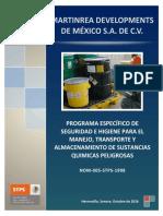 PROGRAMA ESPECIFICO DE SEGURIDAD E HIGIENE PARA EL MANEJO, TRANSPORTE Y ALMACENAMIENTO DE SUSTANCIAS QUIMICAS PELIGROSAS