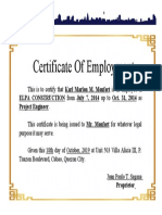 CERTIFICATE OF EMPLOYMENT Karl.doc