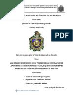 los tipos de excepciones penales en nicaragua
