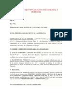 DEMANDA RECONOCIMIENTO DE TENENCIA Y CUSTODIA