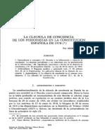 ARTÍCULO - La clausula de conciencia de los periodistas en la Constitución Española de 1978. - Marc Carrillo (ESP)