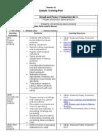 ANNEX A in BPP NC II Sample Training Plan