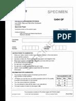 Physics B, G494, OCR Specimen Paper