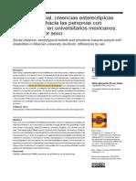 Echevarría  Flores (2018) Distancia social, creencias estereotípicas y emociones hacia las personas con discapacidad en universitarios mexicanos